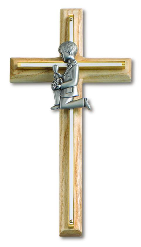 "8"" Communion.Cross Oak Brass Boy 