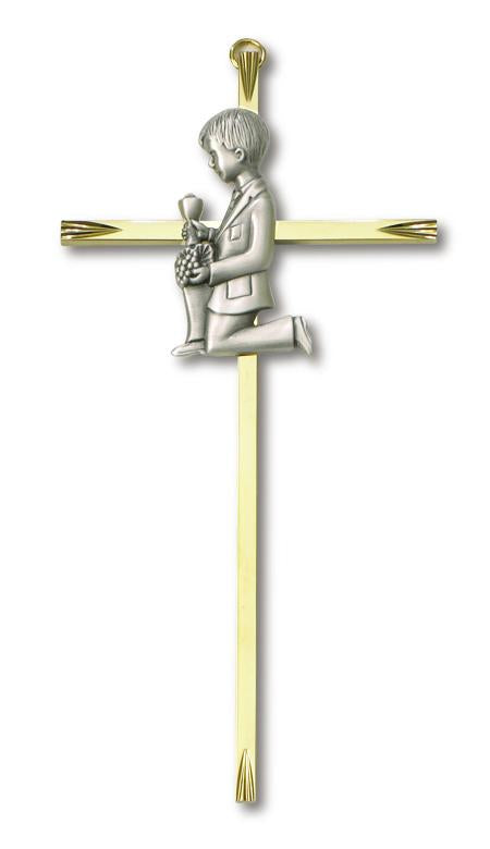 "7"" Cross Brass Communion Boy 
