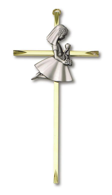 "7"" Cross Brass Communion Girl 