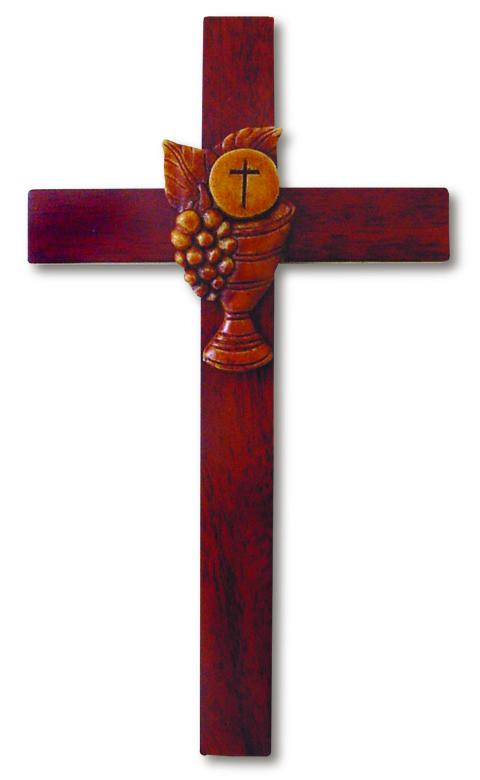 "8"" Cross Chalice Mahogany Resin 