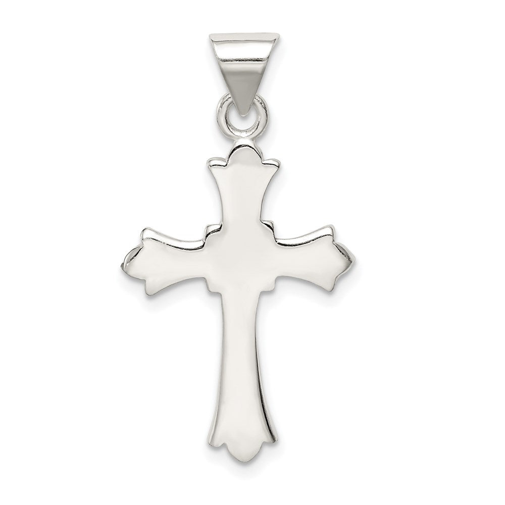 Quality Gold Sterling Silver Fleur De Lis Cross Pendant | Solid | Polished | Sterling silver