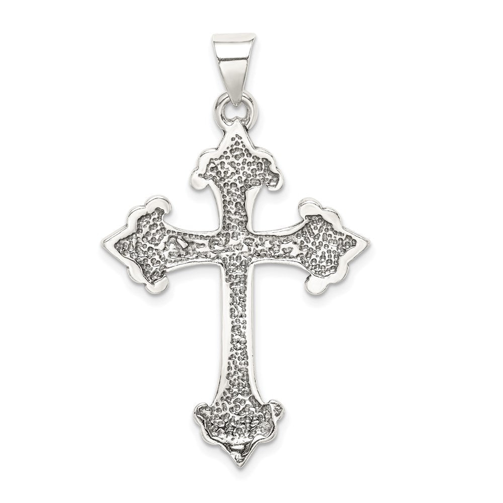 Quality Gold Sterling Silver Fleur De Lis Cross Pendant | Casted | Polished | Antique finish | Sterling silver | Not engraveable | Textured back