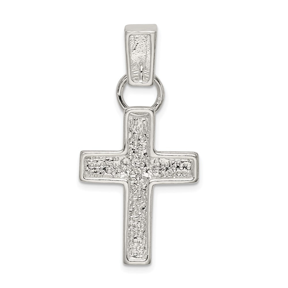 Quality Gold Sterling Silver Hammered Latin Cross Pendant | Polished | Open back | Sterling silver | Not engraveable | Hammered