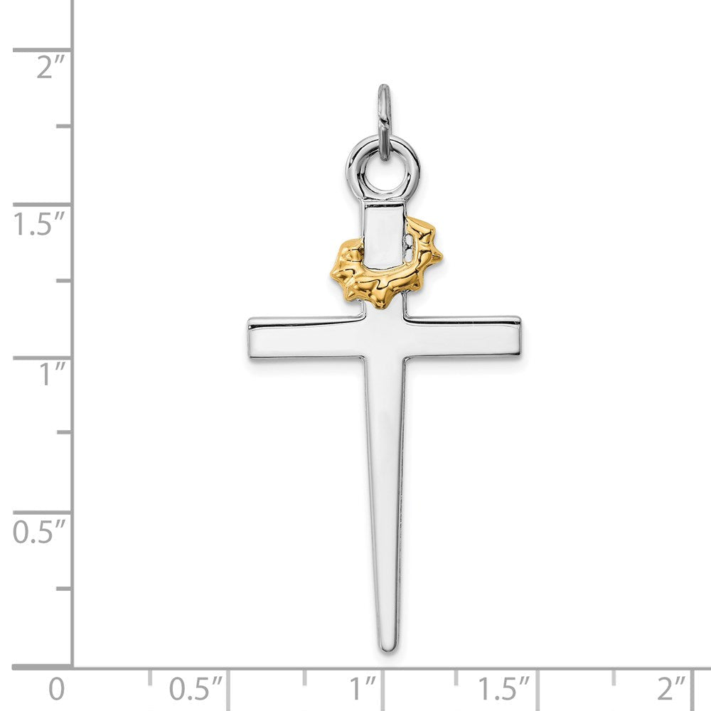 Quality Gold Sterling Silver Rhodium-plated & 18k Gold-plated Cross Pendant | Solid | Polished | Flat back | Sterling silver | 18k gold-plated