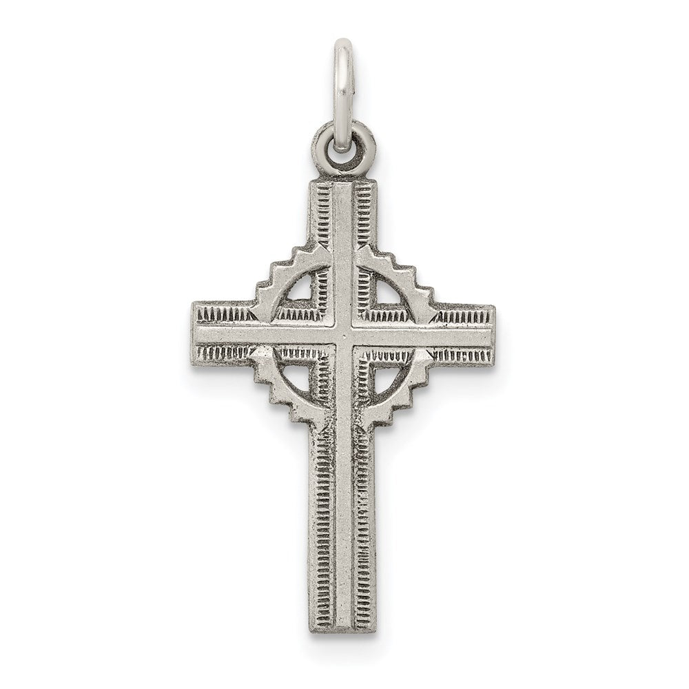 Quality Gold Sterling Silver Antiqued Celtic Cross Pendant | Solid | Satin | Die struck | Antique finish | Sterling silver