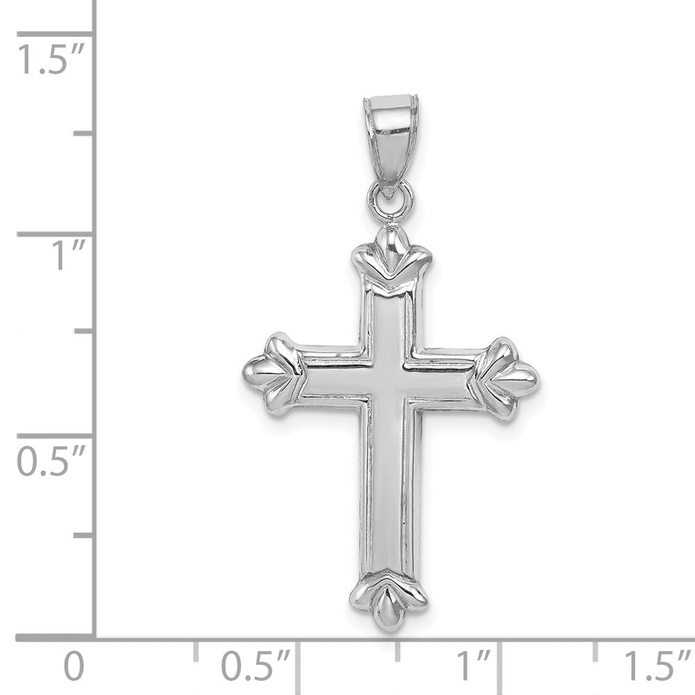 Quality Gold Sterling Silver Rhodium-plated Fleur-de-lis Cross Pendant | Polished | 3-D | Hollow | Sterling silver