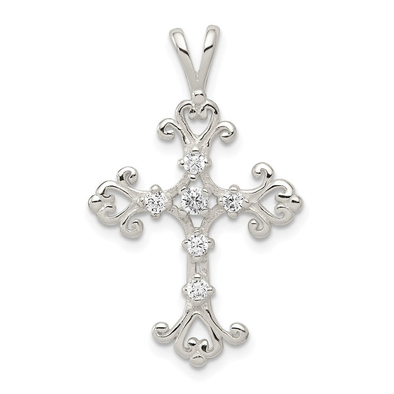 QG Sterling Silver CZ Cross Pendant | Traditional Fleur de Lis Cross Style | Men's | Women's | Pendants & Charms | Sterling Silver | Size 36 mm x 22 mm