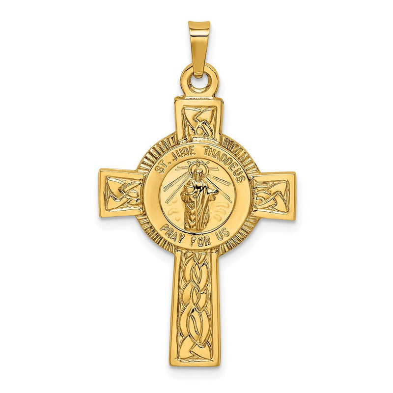 14k Cross with St. Jude Medal Pendant