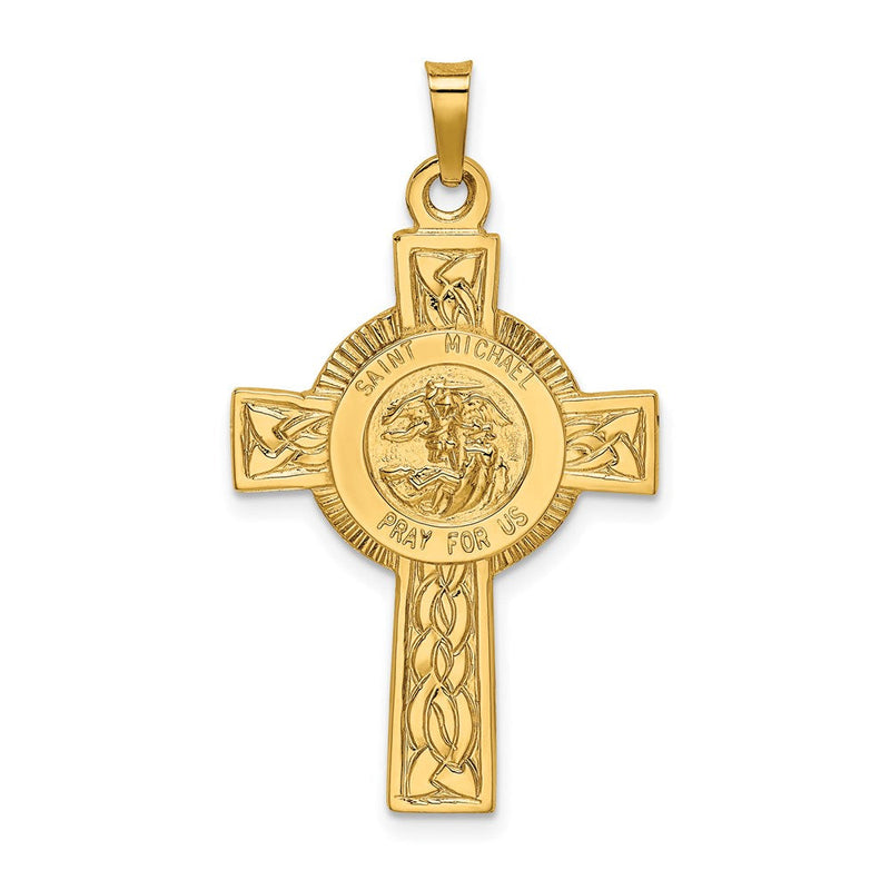 14k Cross with St. Michael Medal Pendant