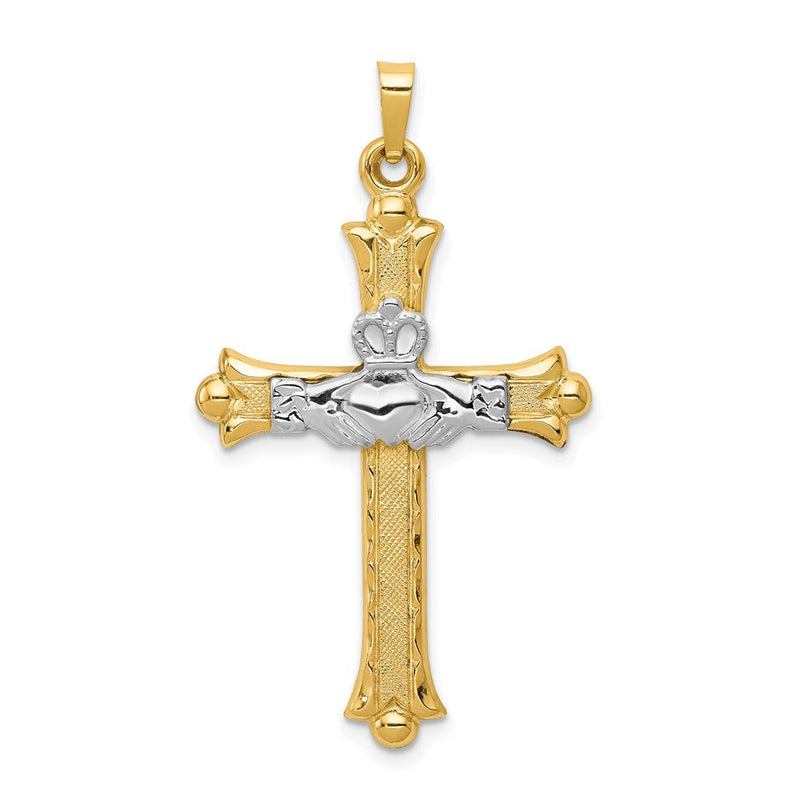 Quality Gold 14k Two-tone Claddagh Cross Pendant | Polished | Satin | 14K Two-tone | Flat back | Hollow | Not engraveable