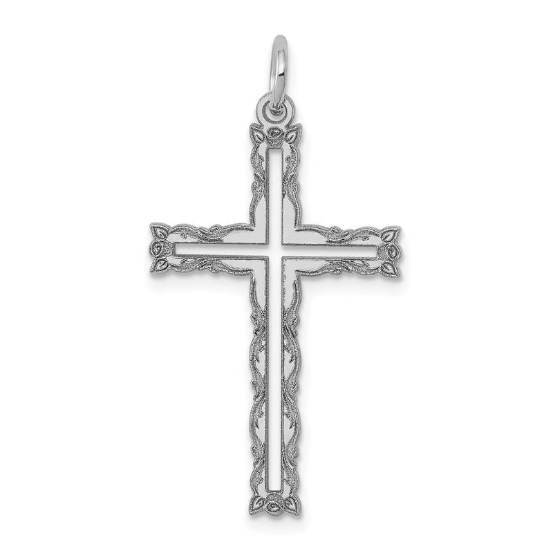 Quality Gold 14K White Gold Laser Designed Cross Pendant | Solid | Polished | 14K White gold | Polished back | Laser Etched