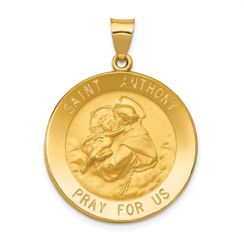 14k Polished and Satin St. Anthony Medal Pendant
