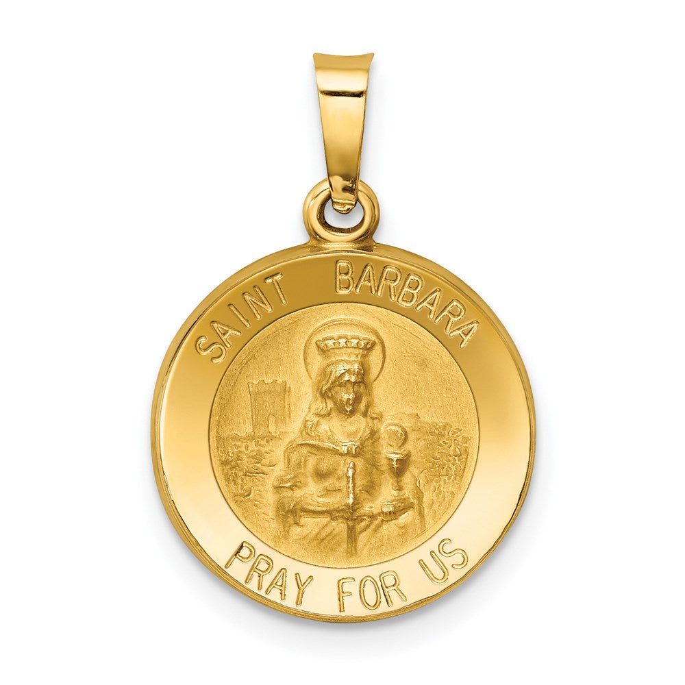 14k Polished and Satin St. Barbara Medal Pendant