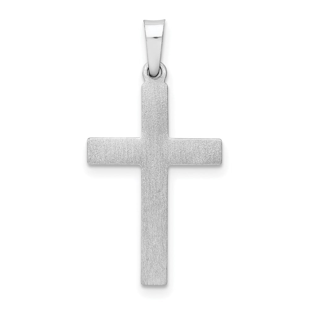 Quality Gold 14K White Gold Brushed and Polished Hollow Latin Cross Pendant | Polished | 14K White gold | Hollow | Brushed
