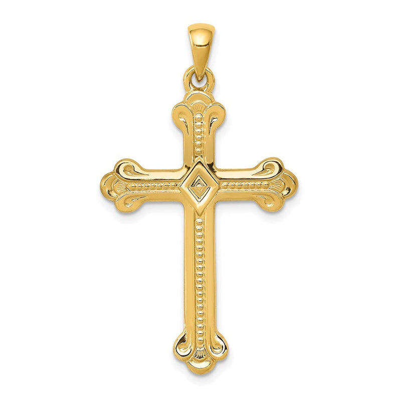 QG 14k Budded Cross Pendant | Traditional Passion Cross Style | Men's | Women's | Pendants & Charms | 14k Yellow Gold | Size 41 mm x 22 mm