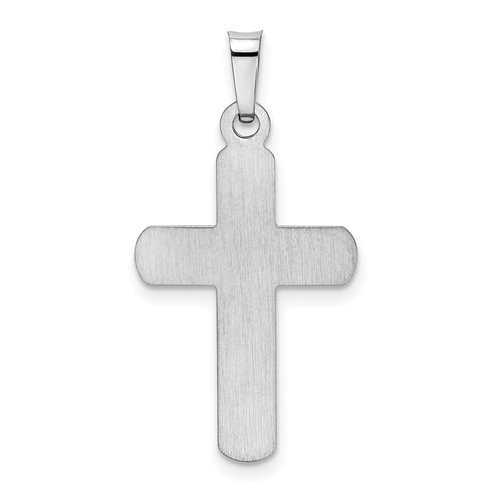 Quality Gold 14k White Gold Polished and Satin Cross Pendant | Traditional Latin Cross Style | Men's | Women's | Pendants & Charms | 14k White Gold | Size 27.55 mm x 14.3 mm