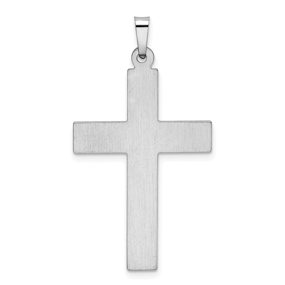 Quality Gold 14k White Gold Polished and Satin w/Dots Cross Pendant | Traditional Latin Cross Style | Men's | Women's | Pendants & Charms | 14k White Gold | Size 36.5 mm x 20.3 mm