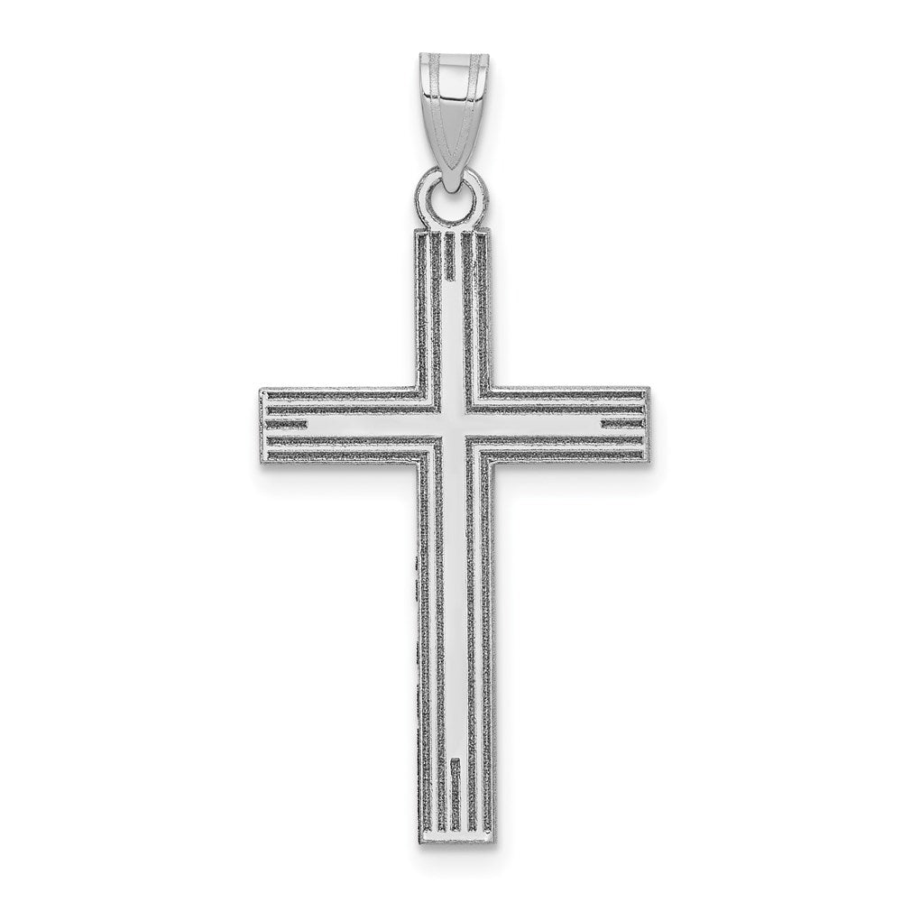 Quality Gold 14k White Gold Solid Cross Pendant | Solid | Polished | 14K White gold | Stamped | Engravable
