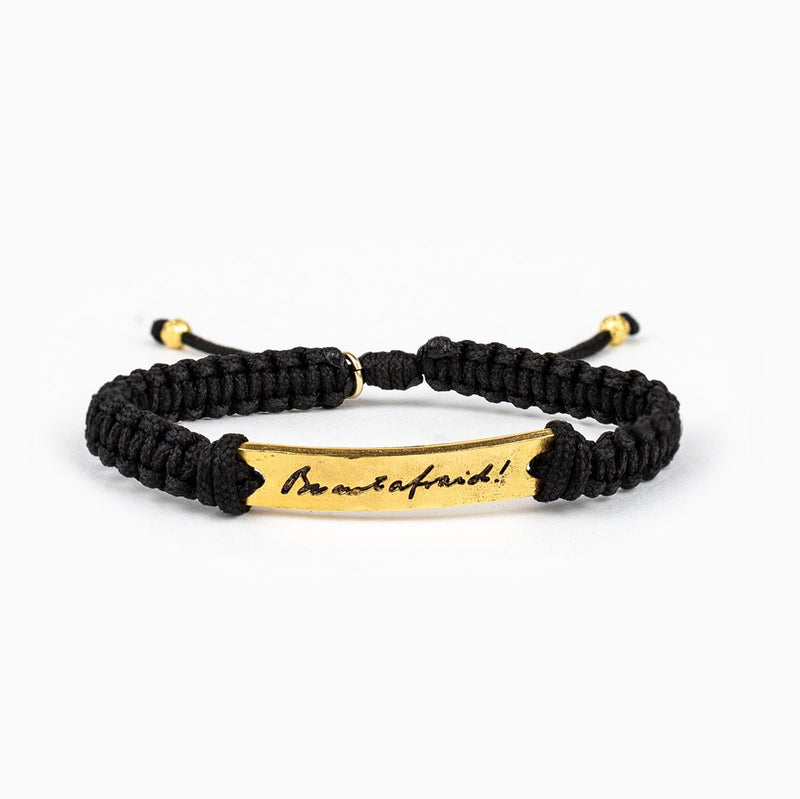 My Saint My Hero Bracelet | Be Not Afraid 1 medal Gold- Black | Mens | Womens | Gold Black Color | 1pc | Christian | Catholic Jewelry