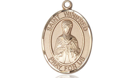 St. Winifred of Wales Patron Saint Medal Pendant in 14 KT Gold