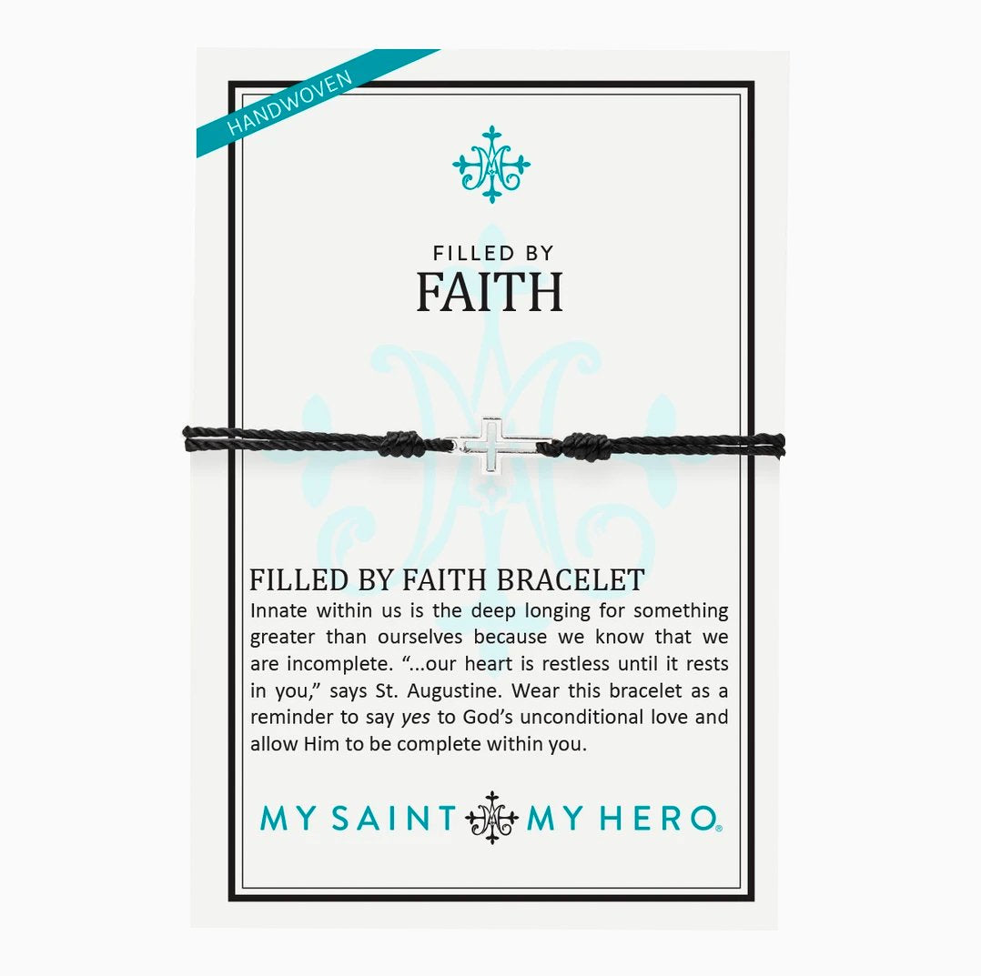 My Saint My Hero Bracelet | Filled By Faith Open Cross Bracelet Silver, Black | Mens | Womens | Silver Black Color | 1pc | Christian | Catholic Jewelry