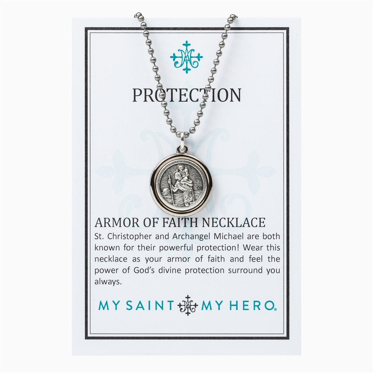 My Saint My Hero Necklace | Protection Armor of Faith Necklace (Bead Ball) Silver | Mens | Womens | Silver Color | 1pc | Christian | Catholic Jewelry