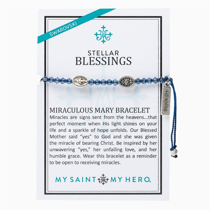 My Saint My Hero Bracelet | Stellar Blessings Bracelet - Miraculous Mary Silver- Denim | Mens | Womens | Silver Denim Color | 1pc | Christian | Catholic Jewelry