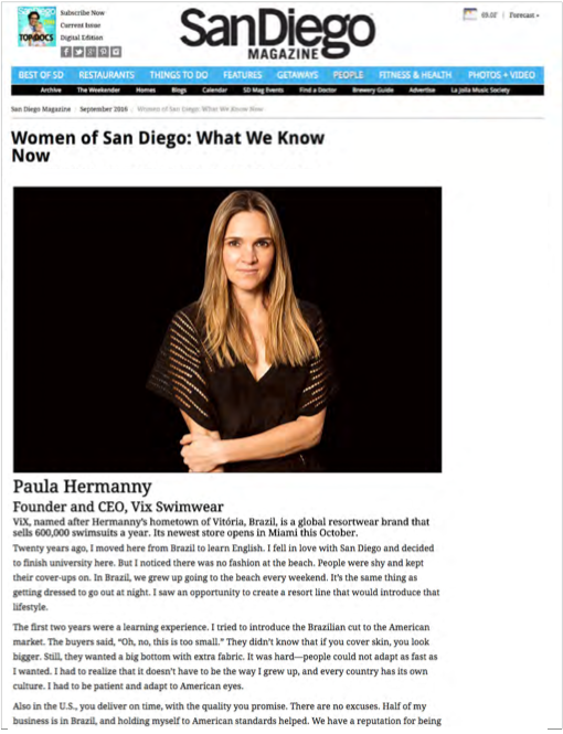 San Diego Magazine Feature on Paula Hermanny
