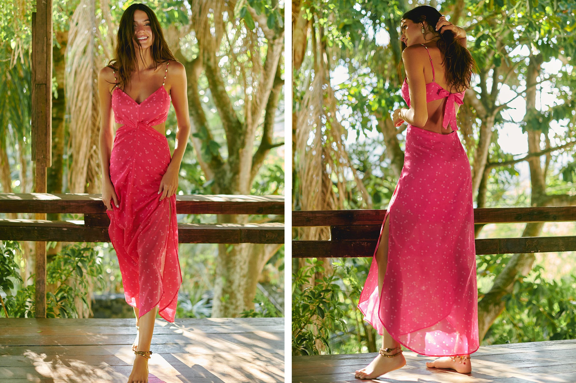 brigitte pink cutout long dress