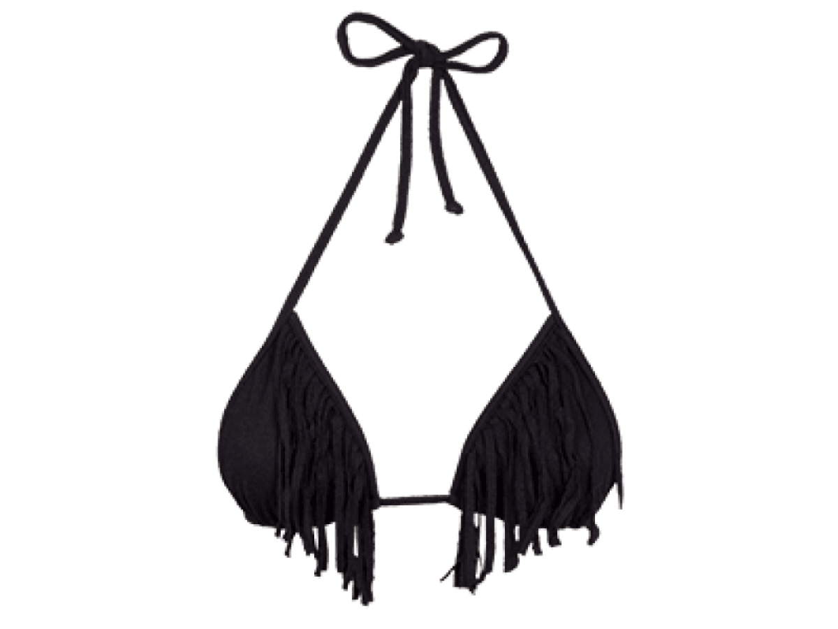 Black Firenze Fringe Tri Top