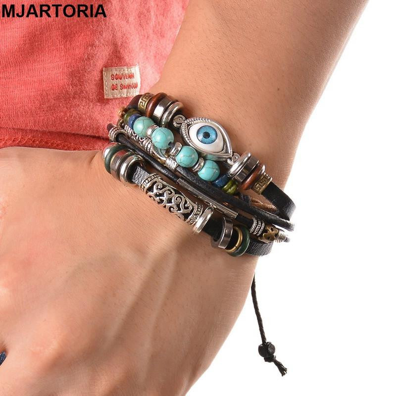 Stylish Eye Feather Charm Leather Bracelet