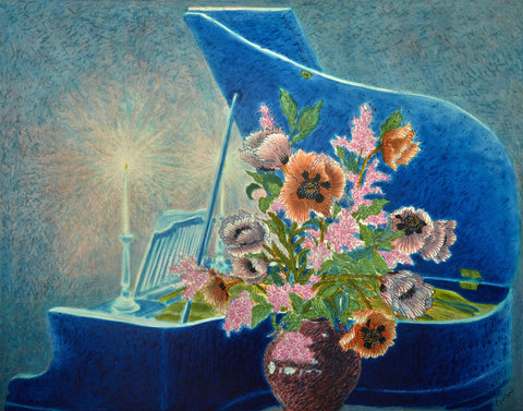 Grand Piano and Poppies