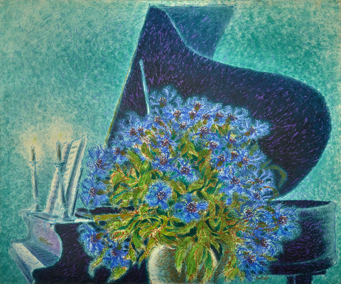 Grand Piano and Corn Flowers