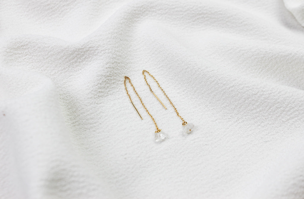 Thread Through Quartz Earring