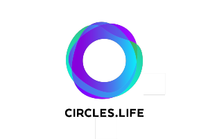 Circles.life logo consisting overlapping circles coloured shades of blue and deep purple