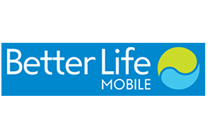 Better life mobile logo featuring a horizontal green and blue ying yang