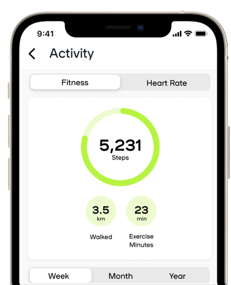 app screen with graph detailing number of steps for the week and figure for steps for the day