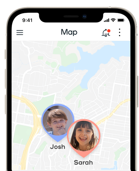 app screen showing an area map and a photo and pin of the childs current location