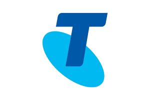 Telstra logo of a blue capital T on a light blue oval