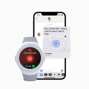 Image showcasing Spacetalk Life screen with Fall detection and accompanying phone with app screen showing map location of where the wearer has fallen notifying the app user.