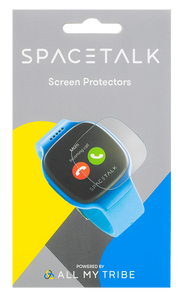 A product box depicting a clear screen protector being applied onto a Spacetalk Kids watch