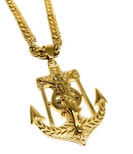 "Gold Plated Big Jesus Crucifiix Anchor Pendant Cristo Ancla Crucifijo Cuban Link Chain 30"" - Fran & Co. Jewelry"