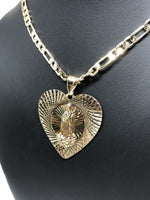 "Gold Plated Virgin Mary Heart Pendant 26"" Chain / Virgen Guadalupe Corazón Medalla Pendant Necklace Chain 26"" Cadena Oro laminado - Fran & Co. Jewelry"