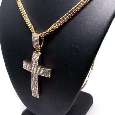 "Men Hip Hop Gold Plated Iced Out Cross CZ Pendant Necklace 30"" Cuban Link Chain - Fran & Co. Jewelry"