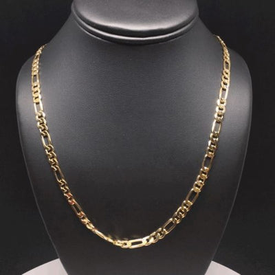 "Gold Plated 26"" Figaro Chain 5mm / Cadena Figaro 26"" Oro Laminado 5mm - Fran & Co. Jewelry"