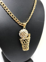 "Men Iced Out Hip Hop Gold Plate BasketBall Hoop CZ Pendant 30"" Cuban Link Chain - Fran & Co. Jewelry"