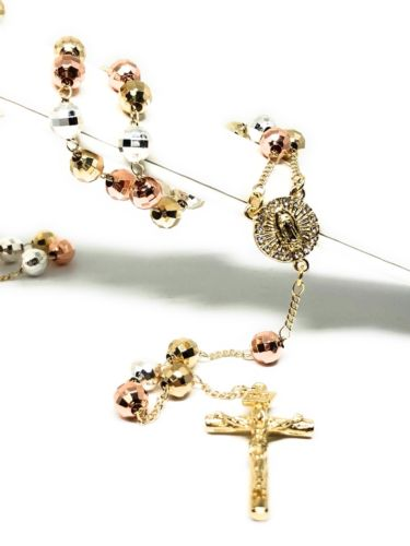 "Gold Plated Tri-Color Virgin Mary Rosary Necklace Virgen de Guadalupe Rosario Crucifijo Oro Tres 26"" - Fran & Co. Jewelry"