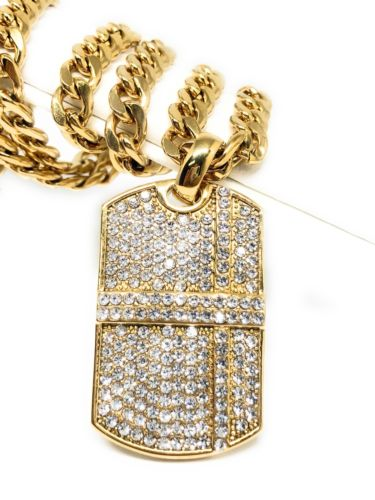"Hip Hop Gold Plated Iced Out CZ Dog Tag Army Pendant 30"" Cuban Link Chain 7mm - Fran & Co. Jewelry"