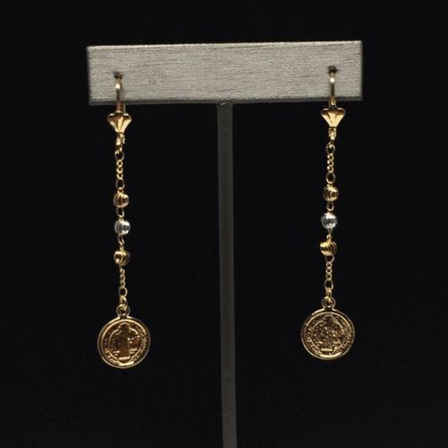 Gold Plated Tri-Color San Benito Saint Benedict Earrings / Aretes De Oro Laminado De San Benito Tres Colores - Fran & Co. Jewelry
