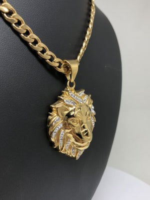"Iced Out Hip Hop Gold Plated Lion Face Head CZ Pendant 30"" Cuban Link Chain 7mm - Fran & Co. Jewelry"